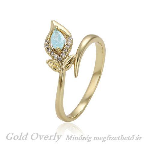 Halvány kék köves Gold Overly gyűrű 17mm
