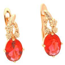 18 k arany színű piros köves fülbevaló