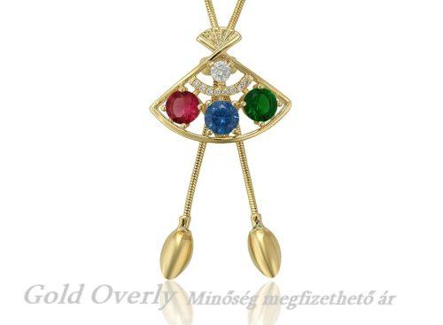 Gold Overly nyaklánc színes kövekkel