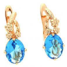 18 k arany színű kék köves fülbevaló