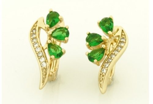 Gold Overly zöld  köves fülbevaló