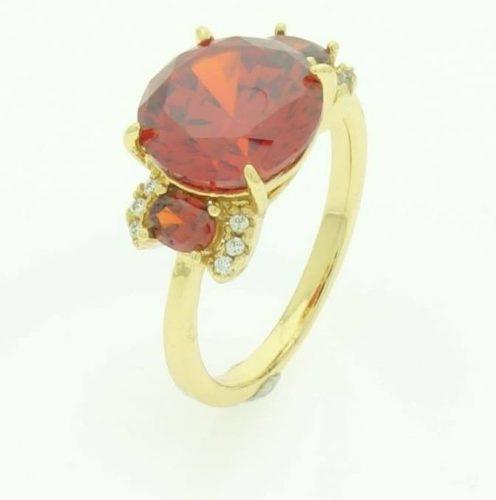Piros köves női gyűrű 17 mm es